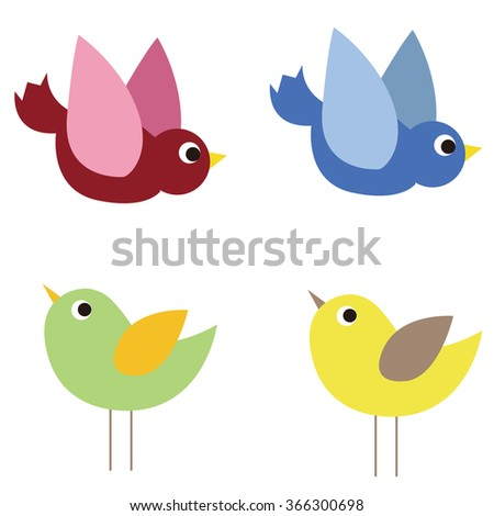 Vector illustration of cute birds.
