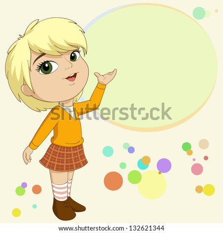 Vector illustration of cute blonde little girl present with empty text field on background - stock vector