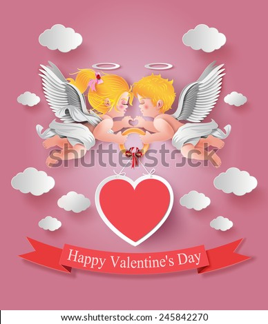 Vector illustration of cute boy and girl cupids. paper cut style. - stock vector