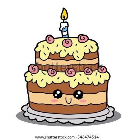 Cartoon Birthday Cake Vector Cartoon Illustration Stock