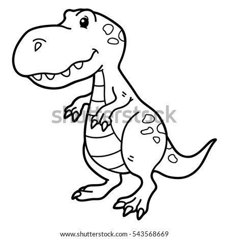 Vector Illustration Cute Cartoon Dinosaur Character Stock