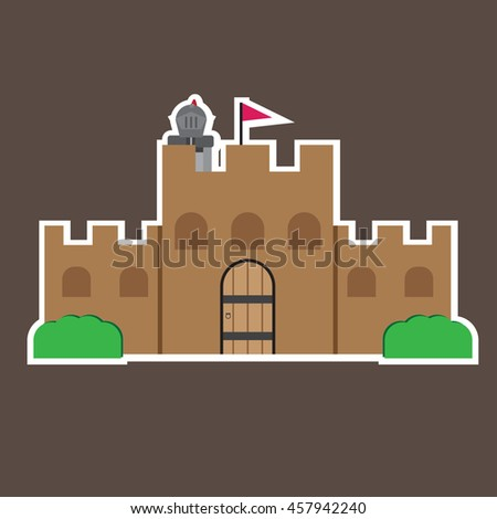 vector illustration of cute cartoon knight character design with gate and wall - stock vector
