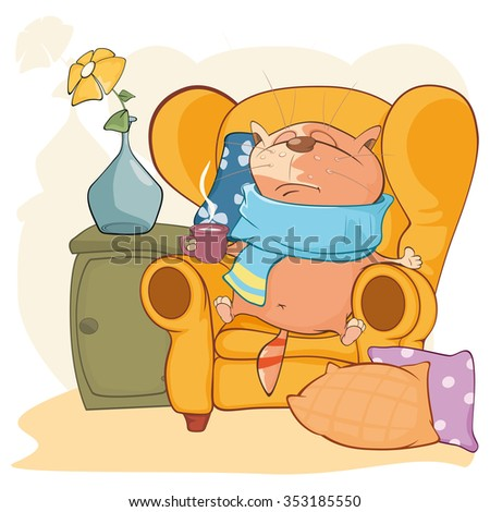 Vector Illustration of Cute Cat. What to do When Your Cat is Sick - stock vector