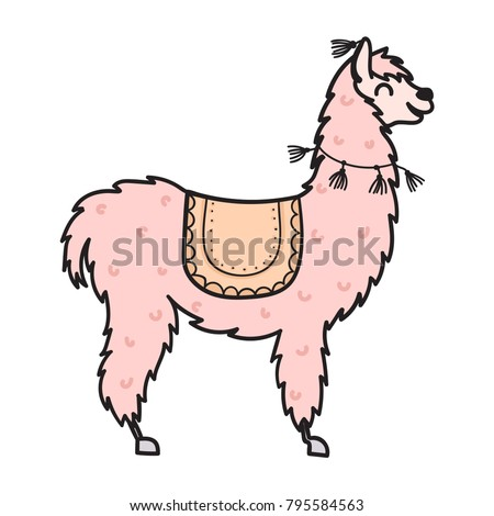 Vector Illustration Cute Character South Lama Stock Vector