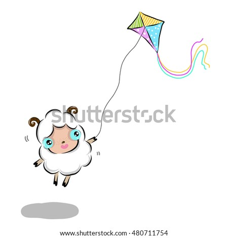 vector illustration of cute cute-sheep cartoon drawing style