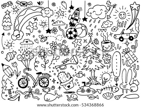 Vector Illustration Cute Doodle Set Hand Drawing Stock