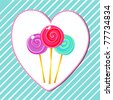 Vector illustration of cute, hand drawn style retro lollipops on heart-shaped, striped background - stock photo