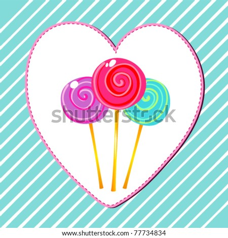 Vector illustration of cute, hand drawn style retro lollipops on heart-shaped, striped background - stock vector