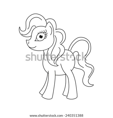 Vector illustration of cute horse, pony with a magnificent mane and tail, coloring book page for children - stock vector