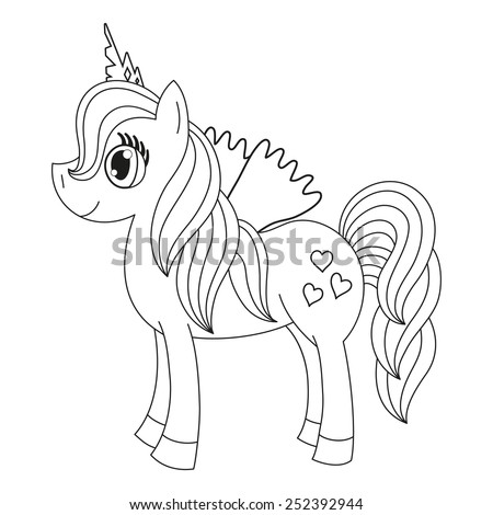 Vector illustration of cute horse princess, royal pony with a magnificent mane and tail, fairy foal with wings, coloring book page for children - stock vector