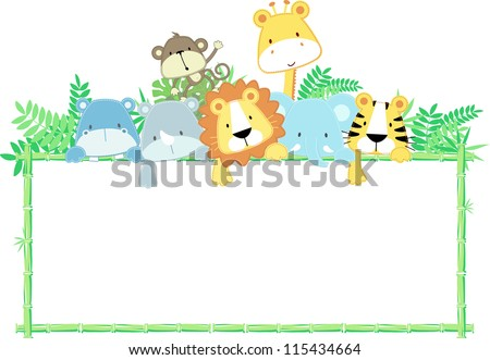 vector illustration of cute jungle baby animals with blank sign - stock vector