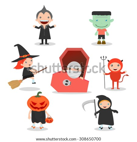 vector illustration of Cute kids wearing Halloween monster costume on white background, Happy Halloween,Halloween Party - stock vector