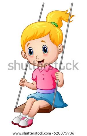 Girl swinging in window clipart