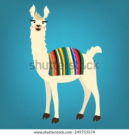 Vector illustration of cute llama with Peru/Bolivian cape on back - stock vector