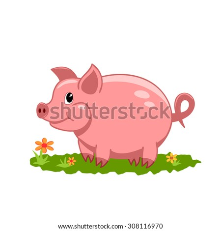 vector illustration of cute lovely smiling pig on a lawn - stock vector