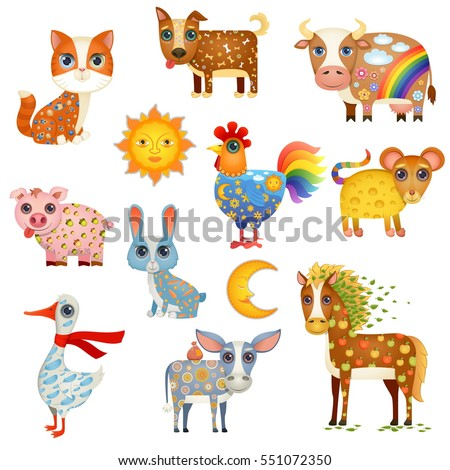 Vector Illustration of Cute Painted Farm Animals. Set Including Cat, Dog, Cow, Rooster, Mouse, Pig, Rabbit, Horse, Goose and Donkey. Plus Bonus - Moon and Sun.