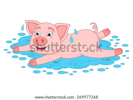 Vector illustration of cute pig in a puddle, funny piggy lies and smiling on water puddle