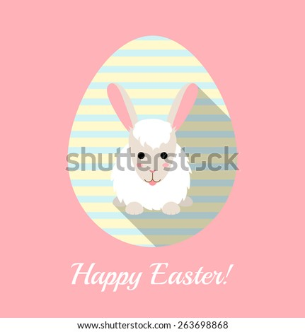 Vector illustration of cute rabbit on striped egg. Flat Easter card. - stock vector