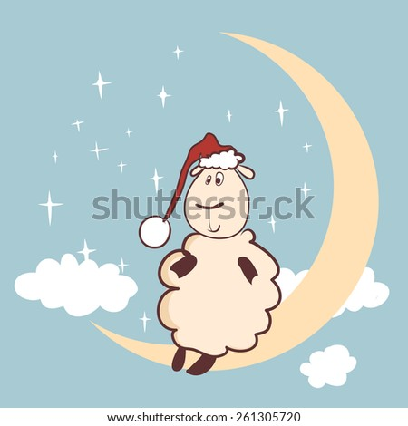 Vector Illustration of cute sheep on moon - stock vector