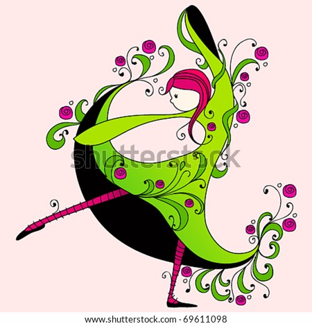 Vector illustration of cute spring girl dancing - stock vector