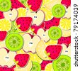 Vector illustration of cute stickers, labels with fruits - stock vector