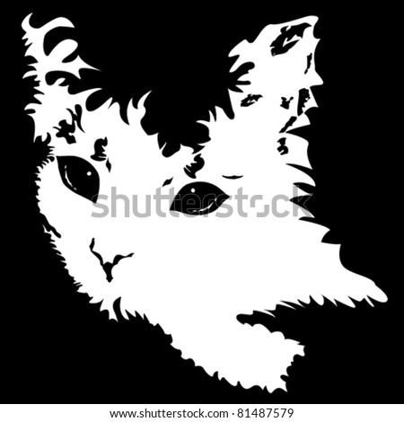 Vector illustration of cute white cat - stock vector