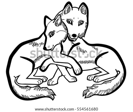 Vector Illustration Of Cute Wolves In Love Black And White