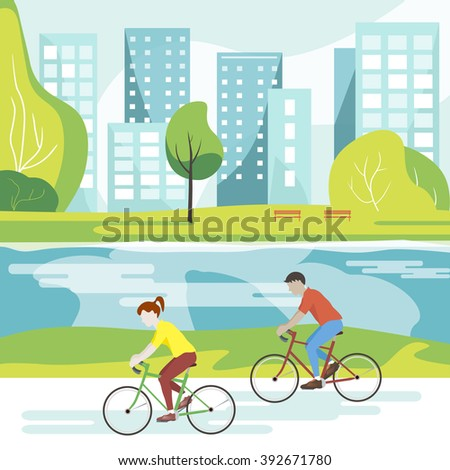 Vector illustration of cyclists in the park. Flat design. Couple riding bicycles in public park. Lifestyle illustration. Cyclists on a walk in the Park and ride along the river with views of the city. - stock vector