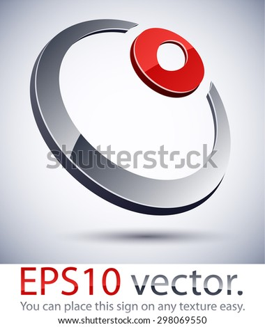 Vector illustration of 3D abstract ring  sign.  - stock vector