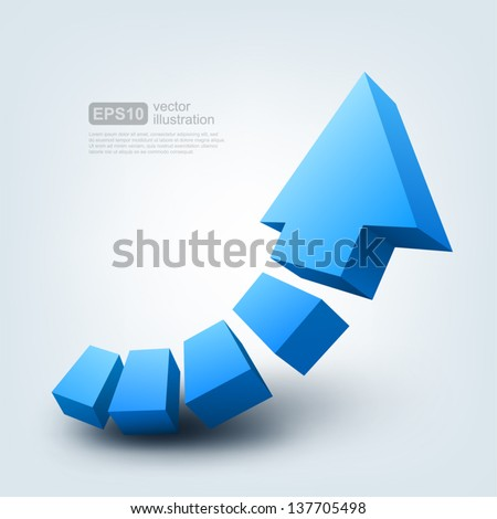 Vector illustration of 3d arrow - stock vector