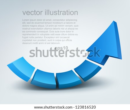 Vector illustration of 3d arrow, logo design - stock vector