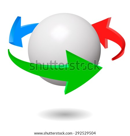 Vector illustration of 3d arrows around a white sphere