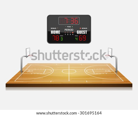 vector illustration of 3d Basketball field with a scoreboard. - stock vector