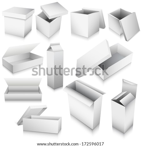 Vector illustration of 3D boxes, different shapes and purpose.