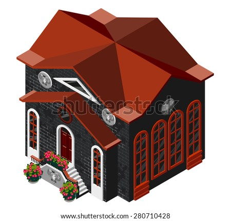 Vector illustration of 3d building. Isometric view of old brick building with large windows and molding. Can be used as icon of, hotel, mall, pastry shop, or dwelling house for games and mobile apps. - stock vector