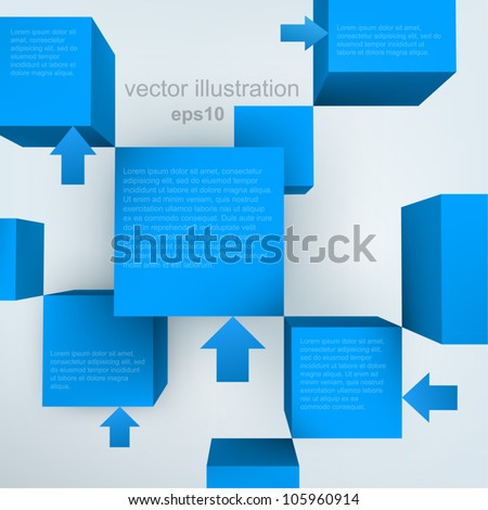 Vector illustration of 3d cubes with arrows - stock vector