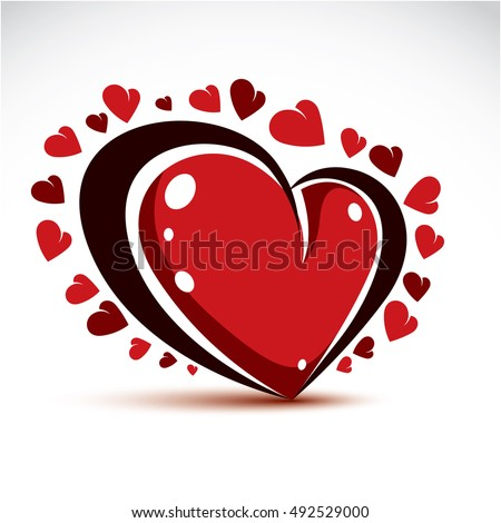 Vector illustration of 3d elegant red love heart isolated. Valentine Day theme artistic graphic design element.  Glamorous romantic heart shape.