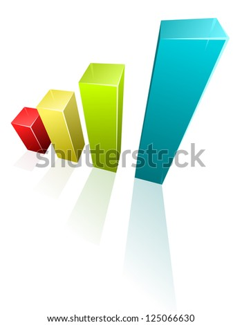 Vector illustration of 3d graph on white background