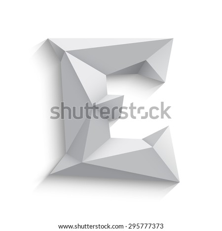 Vector illustration of 3d letter E on white background. Logo or icon design. Abstract template element. Low poly style sign. Polygonal font element with shadow. Decorative origami symbol.