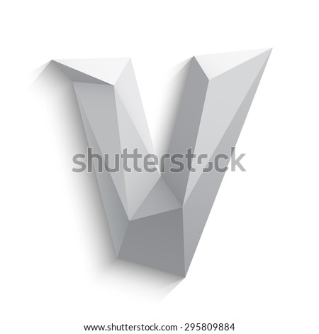 Vector illustration of 3d letter V on white background. Logo or icon design. Abstract template element. Low poly style sign. Polygonal font element with shadow. Decorative origami symbol.