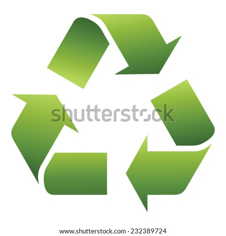 Vector illustration of 3d recycling symbol isolated on white  - stock vector