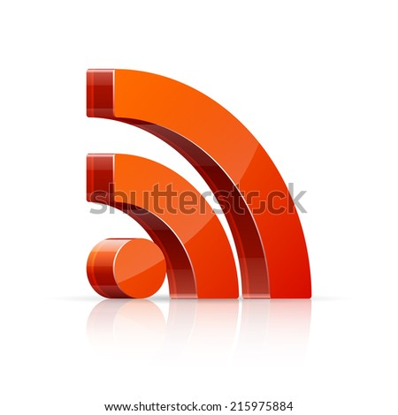Vector illustration of 3D red, glossy RSS icon isolated on white background.
