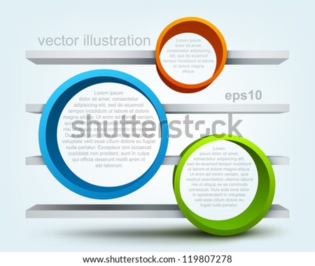 Vector illustration of 3d rings with shelves