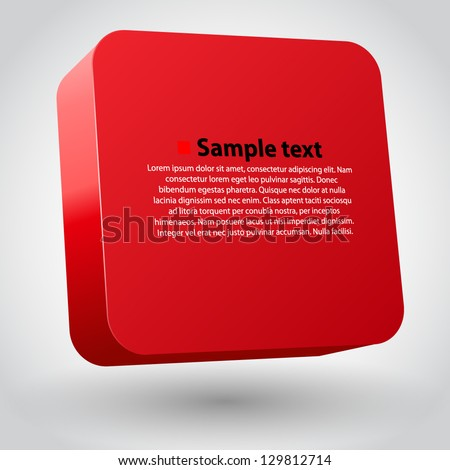 Vector illustration of 3d square. Red variant - stock vector