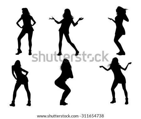 Vector illustration of dancing girls silhouettes