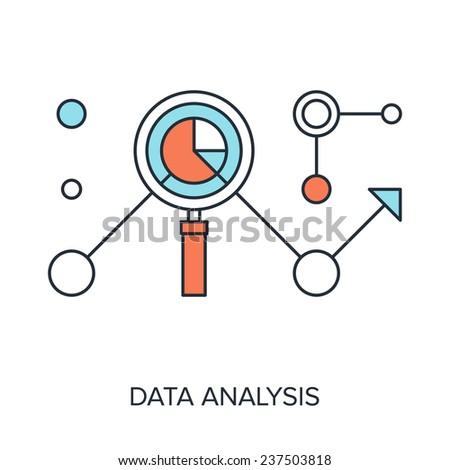Vector illustration of data analysis flat line design concept. - stock vector