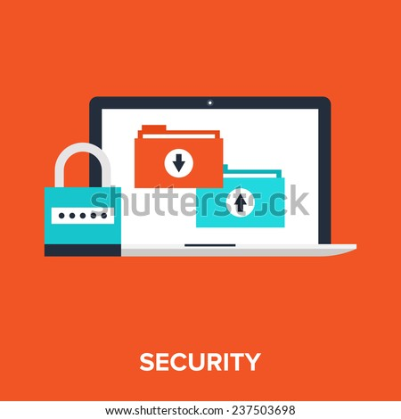 Vector illustration of data protection flat design concept. - stock vector
