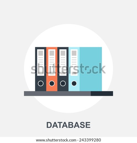 Vector illustration of database flat design concept. - stock vector