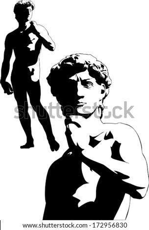 Vector illustration of  David is a masterpiece of Renaissance sculpture created between 1501 and 1504, by the Italian artist Michelangelo - stock vector