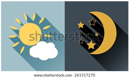 Vector illustration of day and night. Flat sun and moon icon. Vector eps10. - stock vector